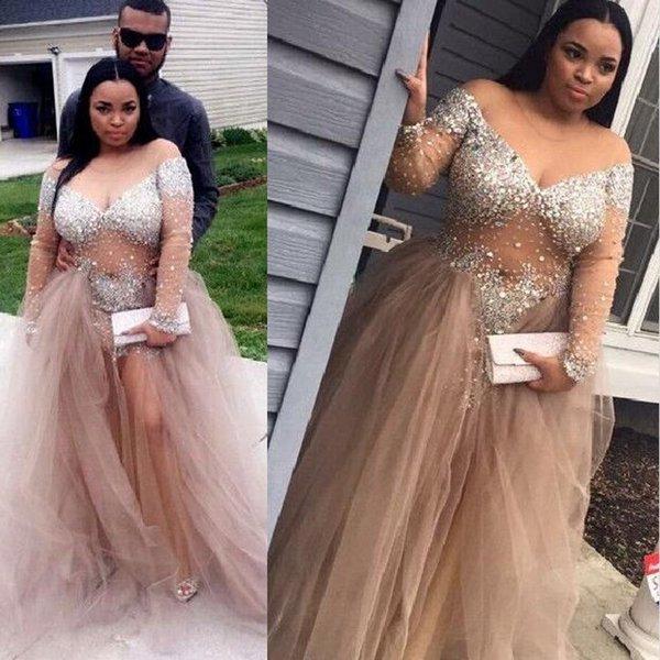 2018 Luxus Bling Sparkle Plus Size Abendkleider Schwarz Mädchen Abendkleid Sheer Mieder Bead Crystal Formale Party Kleider