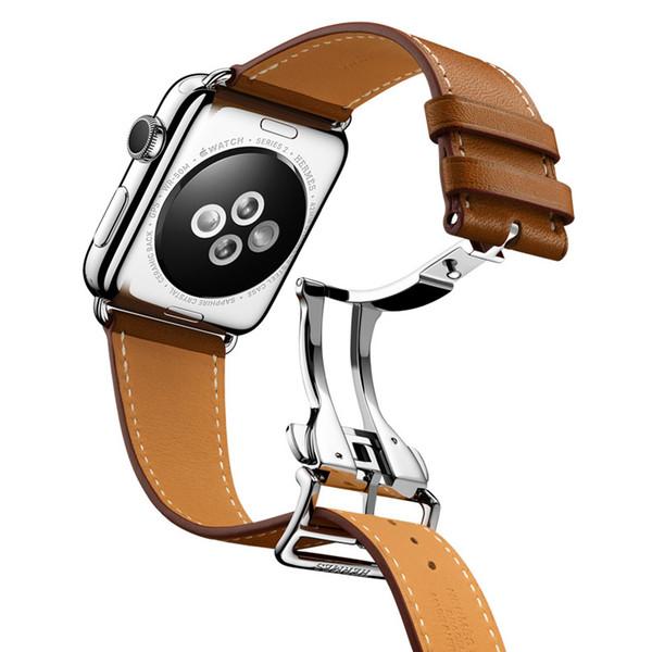 Banda de correa de cuero con hebilla de despliegue de un solo recorrido para Apple Watch 2 1