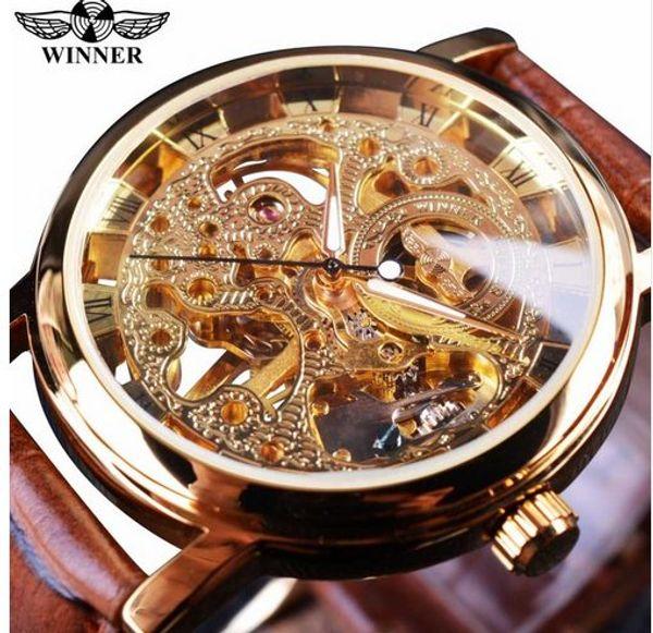 Gewinner Transparente Goldene Fall Luxus Casual Design Braun Lederband Herrenuhren Top-marke Luxus Mechanische Skeleton Uhr