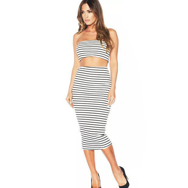 Fashion Women Two Piece Dress Casual Summer Dresses Sleeveless Striped Strap Slim Bodycon Long Dresses Promotion