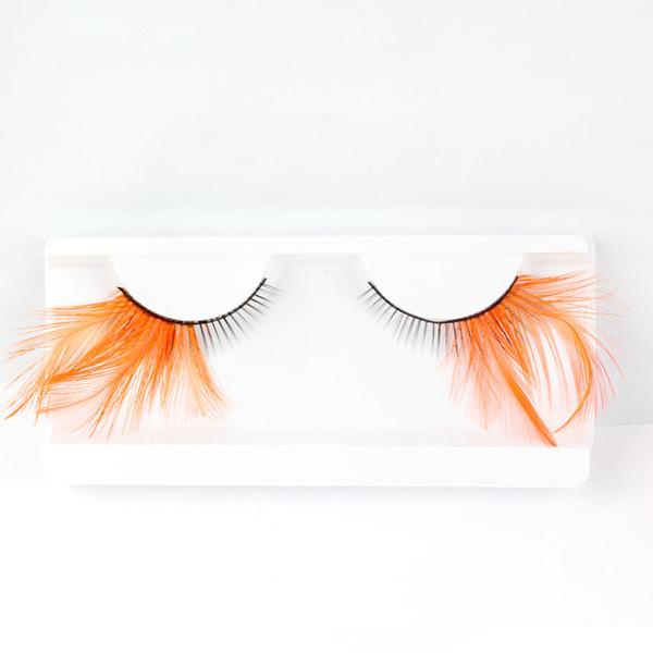 2017 New 1 Pair of Orange Feathers Mascara Makeup Party / Prty Exaggerated Feathers False Eyelash Makeup