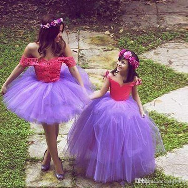 fashion Mother Daughter Dress with Sweetheart Neckline Two Tones Knot Bow Ball Gown Long Purple Flower Girl Dress For Party