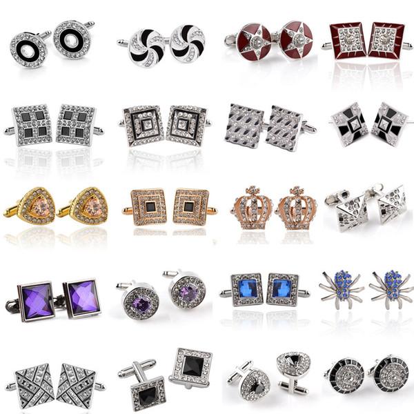 best selling Fashion Classical French Men Crystal Cuff Links Rhinestone Silver Gold Plated Enamel Business Alloy Shirt Cufflinks Wedding Women Jewelry Gift
