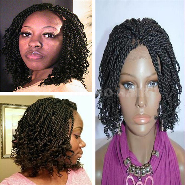 Popular Short Braided Lace Front Wig Natural Black Kinky Twist Tip Braid Synthetic Wig Free Shipping