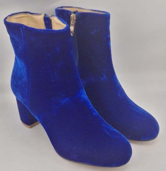 Shopheels98 5 Schuhe Zu Gianvito Zehe 6cm Von Großhandel Reißverschluss Seitlichem Stiefeletten Heels Samt Auf Rossi Gleich Runde Blauer ZukTPiOX