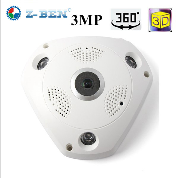 ZBEN 2019 Brandneue 360 ​​Grad Panorama VR Kamera HD 1080 P / 3MP Wireless WIFI IP-Kamera Home Security Überwachungssystem Webcam CCTV P2P