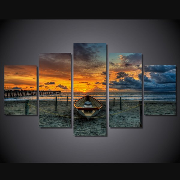 5Pcs/Set HD Printed Sunset Beach Boat Painting Canvas Print room decor print poster picture canvas painting with frame