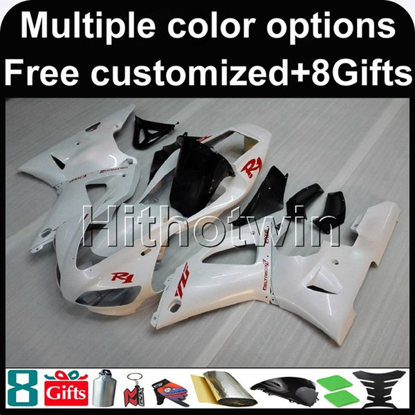 23colors+8Gifts WHITE motorcycle cowl for Yamaha YZF-R1 98 99 YZFR1 1998 1999 ABS Fairing