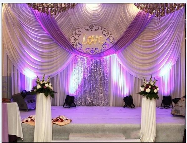 backdrops decoration with gold stage item wholesale background curtains swags wedding backdrop for