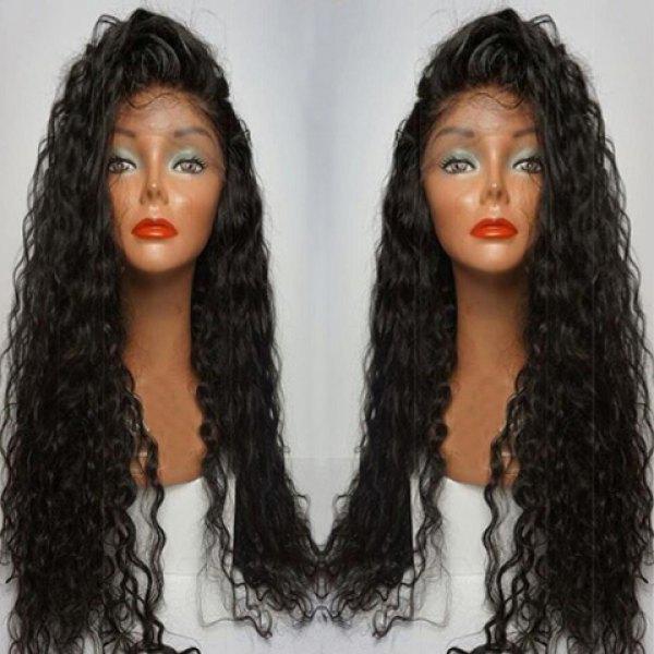 Tutkalsız 7A Brezilyalı Virgin İnsan Saç Kıvırcık Tam Dantel Peruk Uzun Yan Ayrılık Kıvırcık Dantel Ön İnsan Saç Peruk