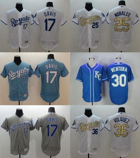 a9a48a705cc ... kansas city royals mens baseball jersey 17 wade davis 25 kendrys  morales 30 ...