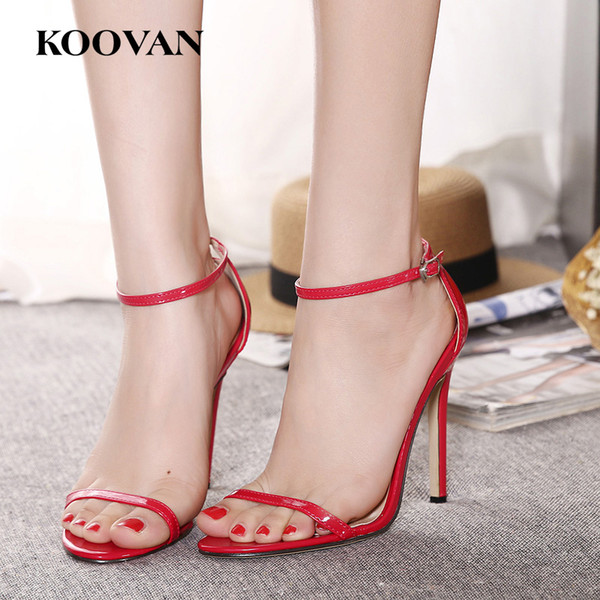 Koovan Fashion Women Pumps New Summer Classics 11 Cm High Heel Shoes Open Toes Sexy Wedding Shoes Big Size 35-43 Four Color W028