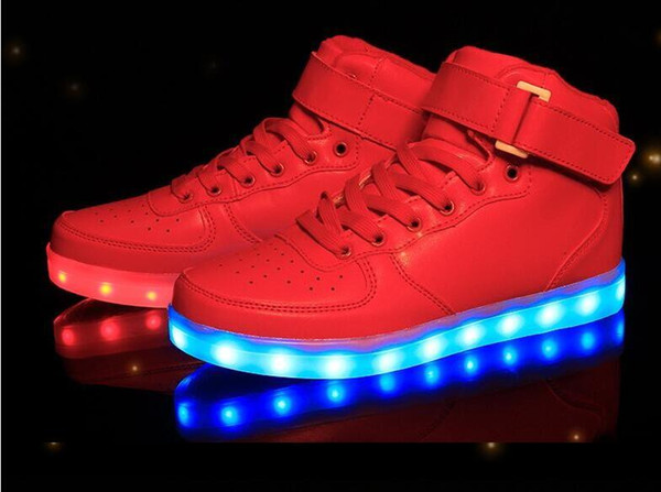 Led Shoes Man USB Light Up Unisex Sneakers Lovers For Adults Boys Casual Students Sports Glowing With Fashion High Top Lights Board Shoes