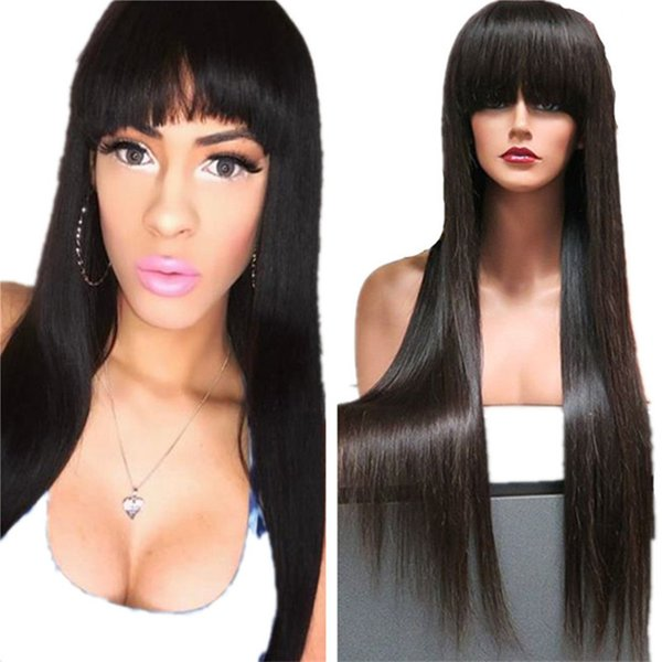 Full Bangs Human Hair Wig 1B Silky Straight Virgin Brazilian Lace Front Wig Glueless Free Shipping