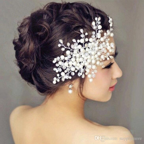New Arrival Wedding Flowers Hairband Bridal Headdress White Pearls Lady Crown Headwear Hair Clip Adjustable Decoration
