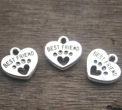 20 pcs - Melhor Amigo Encantos, Tom de prata antigo com Heart Dog Paw charme pingentes 15x15mm