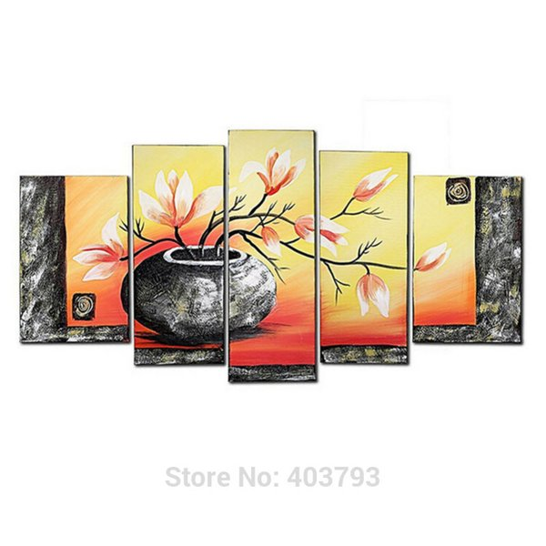 5 Pcs/Lot Bottle Elegent Flowers Picture Painting 100% Hand-Painted Modern Oil Paintings On Canvas Wall Art Decoration