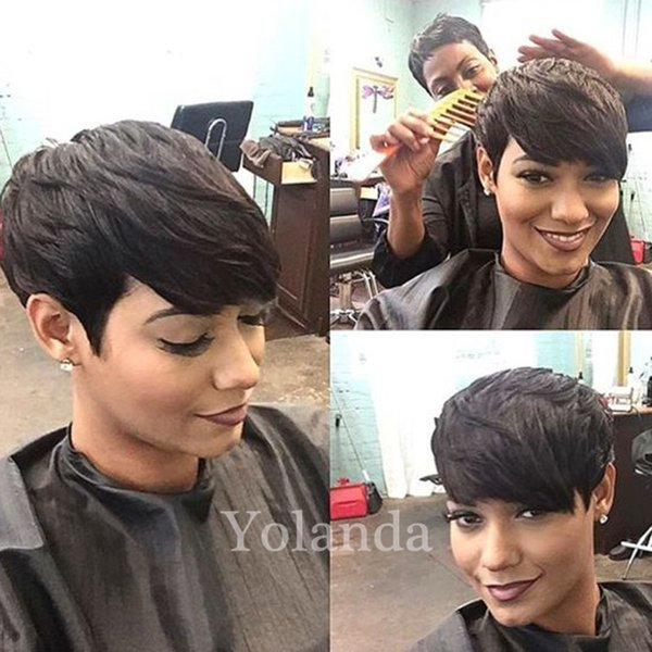 Brazilian bob style wig cut 100% human hair wigs short pixie Indian hair wigs none lace wig for black women