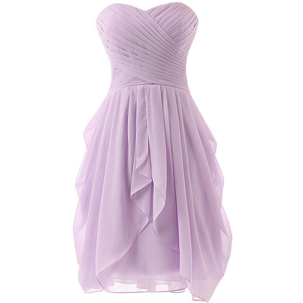 Summer Chiffon Bridesmaid Dresses with Ruffles Lace Up 2018 Short Party Dresses Pleated Wedding Guest Gowns