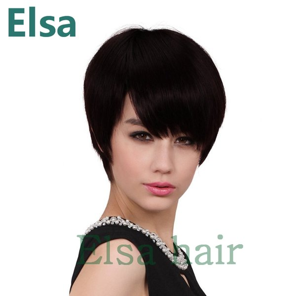 Human Hair Wigs For Black Women Peruvian Virgin Afro straight hair Lace Front Wigs With Baby short Hair FREE