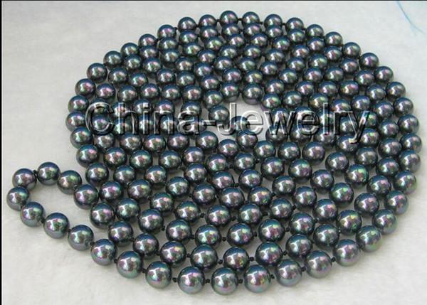 Dettagli su P1355 - Collana di perle di conchiglia di mare nero naturale lungo 10mm lunga 80mm