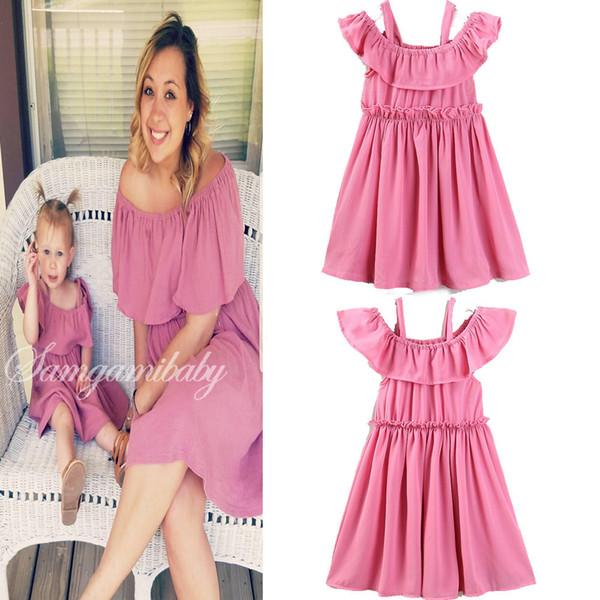 best selling INS new style Europe and America hot family mom daughter dress summer family Matching dress pink sling dress high quality cotton free ship