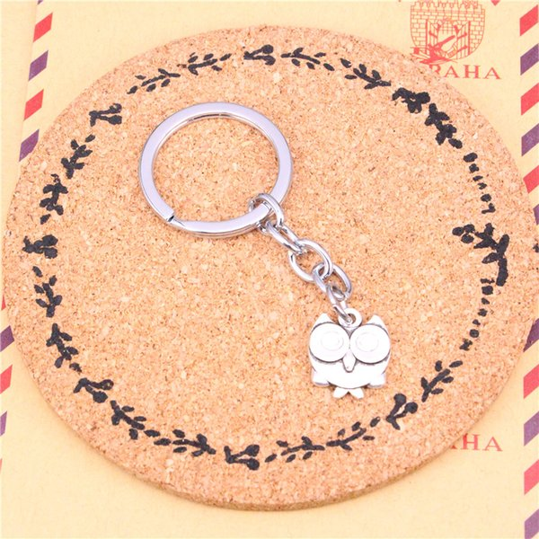 Car Key Ring Pendant Silver Color Metal Key Chains Accessory Wholesale Free Shipping,Vintage double sided owl Keychain