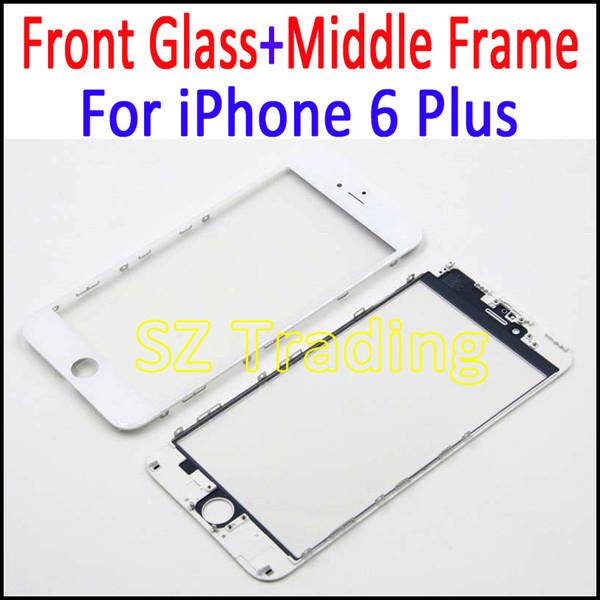 Para iphone 6 plus 2 em 1 original touch screen lente exterior vidro com frame assembléia para iphone6 além de reparação parte frete grátis