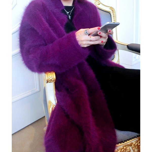Wholesale- NEW knitted long sweater coat women's thick spot loose Plush mink cashmere cardigan coat in autumn and winter Free shipping