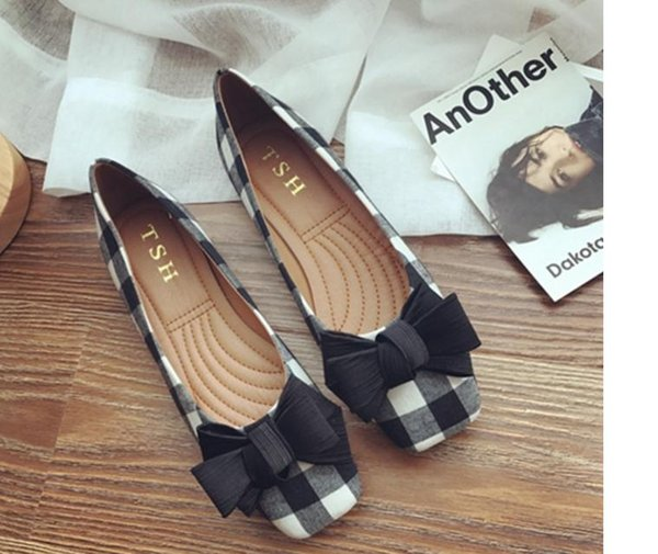 The new 2017 flat square single shoes joker suede grid han edition sweet bowknot big yards for women's shoes