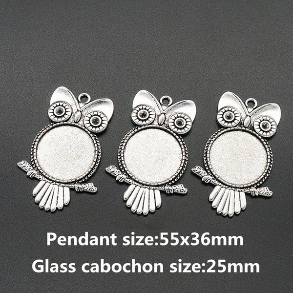 Wholesale- BL0072 Owl Antique Silver Necklace Pendant Setting Cabochon Cameo Base Tray Bezel Blank Fit 25mm glass cabochon