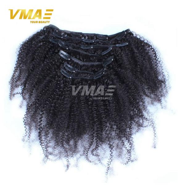 Afroamerikaner-Klipp in den Menschenhaar-Erweiterungen brasilianische mongolische Jungfrau 4B 4C Afro-verworrenes gelocktes Klipp in den Haar-Erweiterungen natürliches Schwarzes