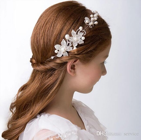 Pearl Ornament And Crystal Girls\' Head Pieces Children Hair Flower ...
