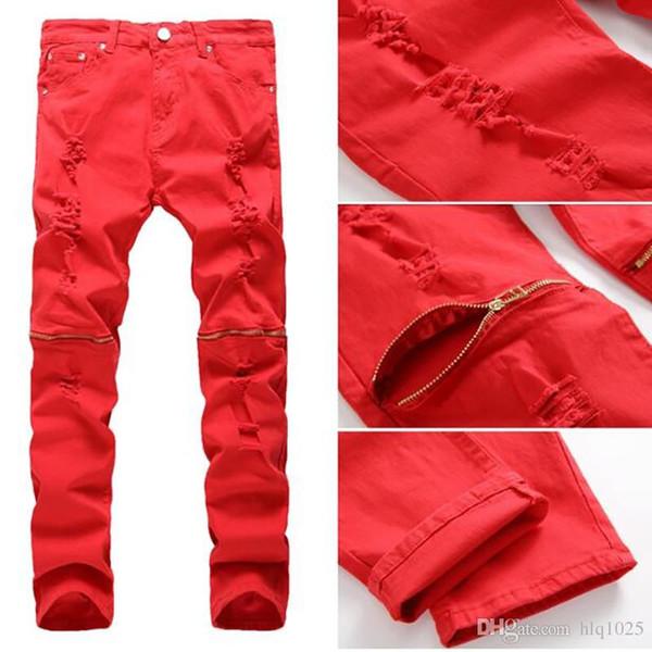 Red White Black Ripped Denim Pant Knee Hole Zipper Biker Jeans Uomo Slim Skinny Destroyed strappato Jean Pants paura di dio jeans
