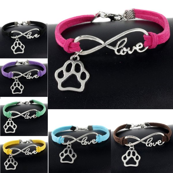 Cute Pets Dogs Cat Animal Bear Paw Charms Pendant Love Infinity Bracelet Silver Plated Leather Chain Simple Bangle Women Vintage Jewelry