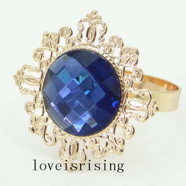Haute qualité - 100pcs bleu marine or plaqué style vintage anneaux de serviette de mariage porte-serviette de douche de mariée-- livraison gratuite