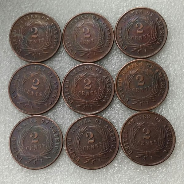 Full sets(1865 1866 1867 1868 1869 1870 1871 1872 1873) 9pcs Two cents coin in the United States High Quality