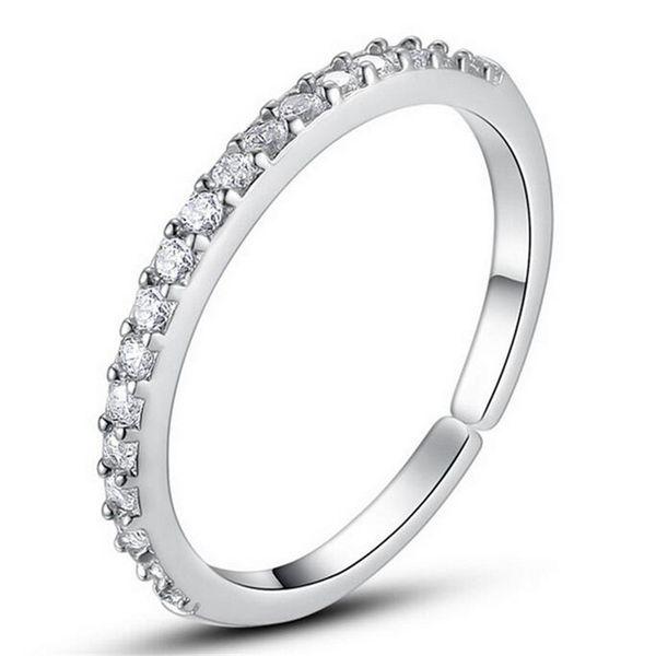 Formas del anillo de bodas Anillos de plata de la venda del diamante Venta caliente Cristal Anillos de compromiso Dedo para el partido de la muchacha de las mujeres Joyería abierta del tamaño al por mayor DHL