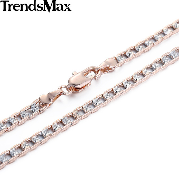 Wholesale- Trendsmax Customized 4mm Flat Hammered Cuban Silver Rose Gold Filled Necklace Mens Chain Womens Wholesale Jewelry Gift GN65