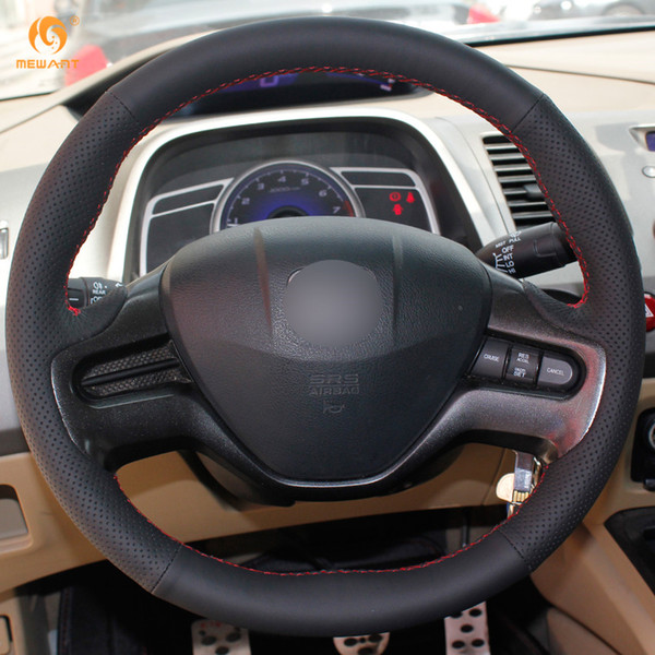 1 DIY Mewant Black Artificial Leather Car Steering Wheel Cover for Honda Civic Old Civic 2006-2009