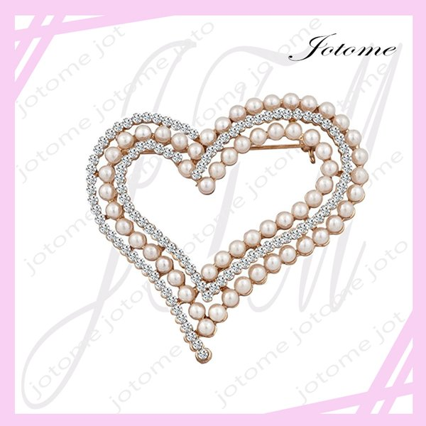 100PCS/Lot 2017 China Wholesale Factory Direct TOP Design Pearl Heart Brooch White Crystal Rhinestone Brooches Pins