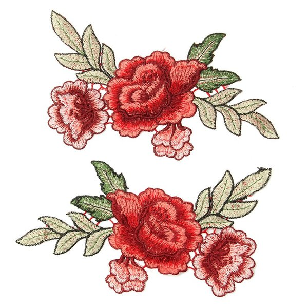 best selling 2Pcs set Rose Flower Floral Collar Patch Cute Applique Badge Embroidered Fabric Sticker For Clothes Jacket Jeans Garment Patches