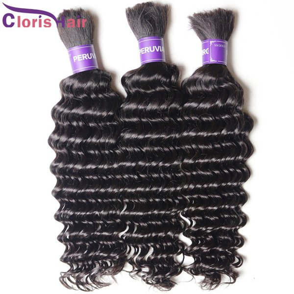 Deep Wave Malaysian Bulk Human Hair For Extensions No Weft Soft Curly Braiding Hair Weave Bundles 3pcs Unprocessed Braiding Hair In Bulk