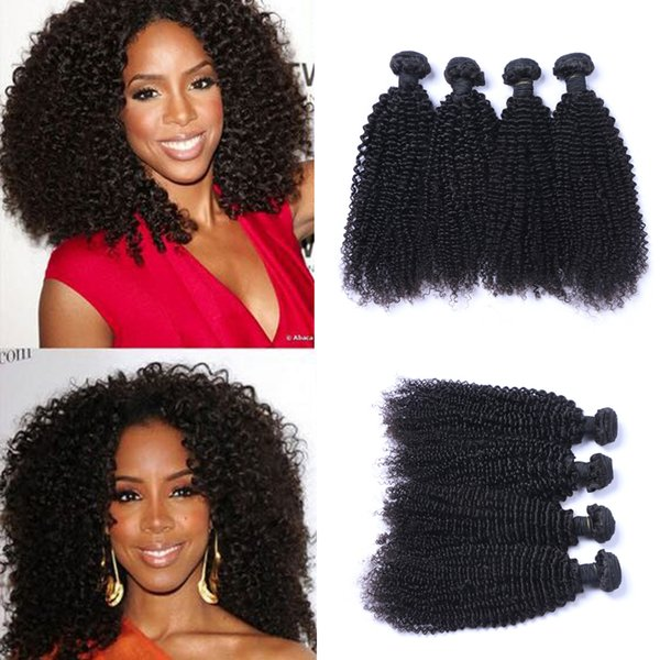Brazilian Human Remy Virgin Hair Kinky Curly Hair Weaves Natural Color 100g/bundle Double Wefts 4Bundles/lot Hair Extensions