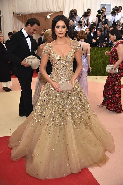 best selling Nina Dobrev Met Gala Celebrity Dresses 2017 Gold Evening Dresses Short Sleeve See Through High Collar Celebrity Party Dresses