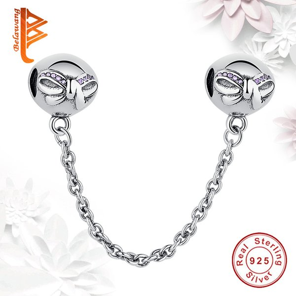 BELAWANG Wholesale 925 Sterling Silver Safety Chain Crystal Charm Beads Fit Pandora Charm Bracelets&Bangles Jewelry Making Free Shipping