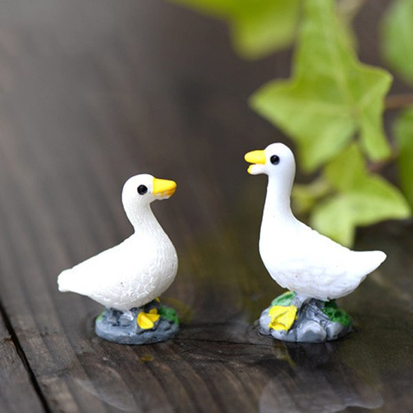 10pcs Couple Duck Figurines Resin Crafts Fairy Garden Miniatures Bonsai Tools terrarium Figurines Gnome Micro Landscape Swamp Aquarium Decor