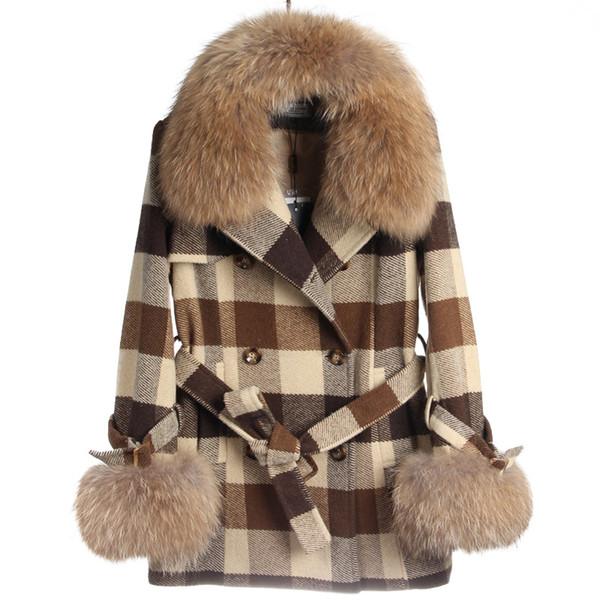 Women's autumn winter real raccoon fur collar fur cuff plaid grid pattern wool woolen medium long double breasted coat casacos abrigos