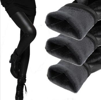 Großhandels-Frauen Leggins 2016 Herbst Winter Legging Verdickung samt schwarz Leder Leggings dünne Hosen warm für Frauen legins