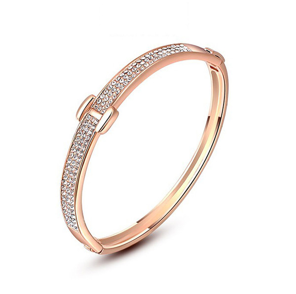 Hot sale Korean Jewelry Rose Gold H with Austria Crystal bangle Luxury Bracelets for Women Gift Fine Jewelry Costume Accessories Fashion